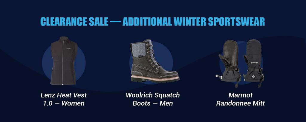 black lenz heat vest 1.0 for women, black woolrich squatch boots for men and black marmot randonnee mitts
