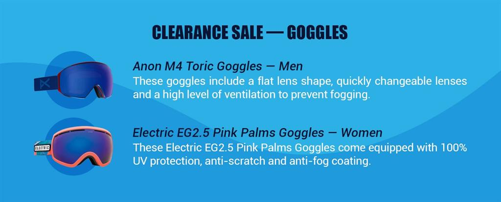 blue anon m4 toric goggles for men and electric eg2.5 pink palms goggles for women