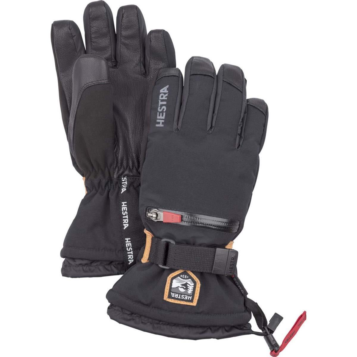 Youth All Mountain Waterproof C-Zone Winter Cold Weather Gloves 5 Hestra Ski Gloves for Kids Black