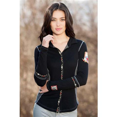 Alp N Rock Alpine Hearts Long Sleeve Button Down Womens