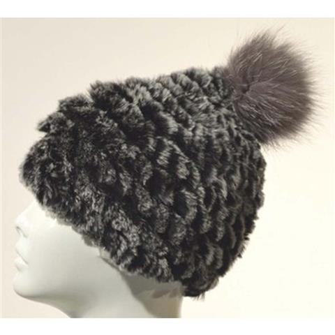 Mitchies Matchings Rabbit Fur Hat with Pom Womens