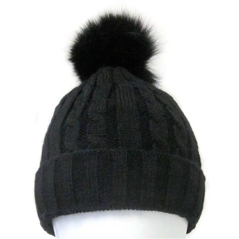 Mitchies Matchings Black Knitted Hat with Pom Womens