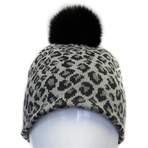 Mitchies Matchings Leopard Knit Hat with Fox Pom Womens