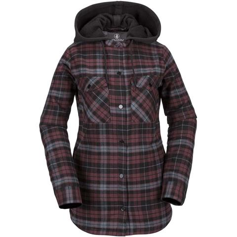 Volcom Hooded Flannel Jacket Womens