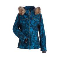 Dark Teal Winter Winds Print / Black Nils Kari Real Fur Jacket Womens