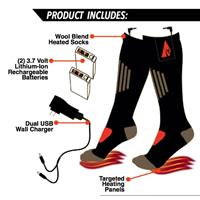 Black ActionHeat 3.7V Rechargeable Battery Heated Wool Socks