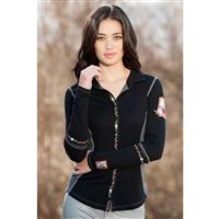 Black Alp N Rock Alpine Hearts Long Sleeve Button Down Womens