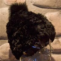 Black/Black/Fox Mitchies Matchings Rabbit Fur Hat with Pom Womens