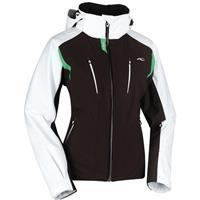 Black Coffee/White/Bright Green Kjus Drome Jacket Womens