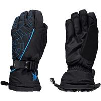 Black / Electric Blue Spyder Overweb Gloves Boys
