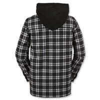 Black White Plaid Volcom Field Bonded Flannel Mens back