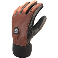 Brown / Flame Red Hestra Army Leather Wool Gloves