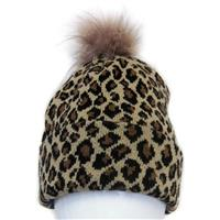 Mitchie's Matchings Leopard Knit Hat with Fox Pom - Women's