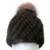 Brown Mitchies Matchings Mink Hat with Fox Pom Womens