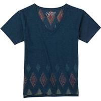 Indigo Heather Burton Geo V Neck SS Tee Womens