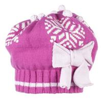 China Pink Obermeyer Snowflake Knit Beret Girls