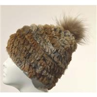 Goma Mitchies Matchings Rabbit Fur Hat with Pom Womens