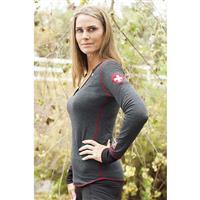 Heather Black Alp N Rock Herzli Henley Womens