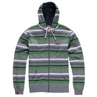 Layered Form Heather Grey Foursquare Multi Stripe Full Zip Hoodie Mens