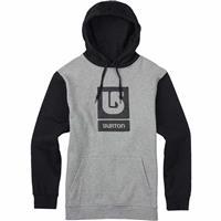 Gray Heather / True Black Burton Logo Vertical Fill Pullover Hoodie Mens