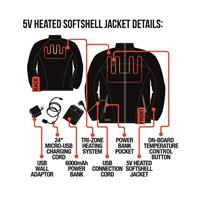 Black ActionHeat 5V Battery Heated Jacket Mens