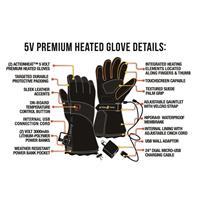 Black ActionHeat 5V Heated Premium Gloves Mens