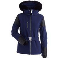 Navy / Black Faux Leather Nils Posh Real Fur Jacket Womens
