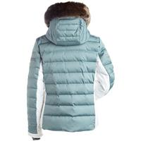 Celadon / Winter White Nils Ula Jacket w/ Faux Chinchilla Fur Womens