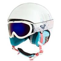 Bright White Animal (WBB9) Roxy Misty Goggle & Helmet Set Girls