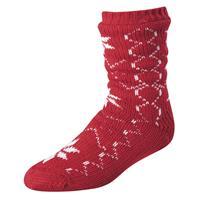 Red w/Pattern Terramar Slipper Socks with Gripper Dots Womens