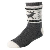Gray w/Reindeer Terramar Slipper Socks with Gripper Dots Womens
