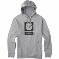 Gray Heather Burton Logo Vertical Fill Pullover Hoodie Mens