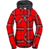 Fire Red Volcom Circle Flannel Jacket Womens