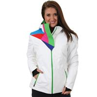 White / Classic Green Spyder Power Jacket Womens
