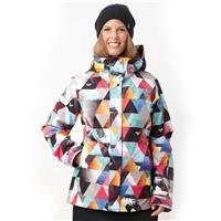 White Geometric Photoprint Roxy Jet Insulated Jacket Womens