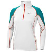 White / Sea Glass Marmot ThermalClime Pro 1/2 Zip Womens