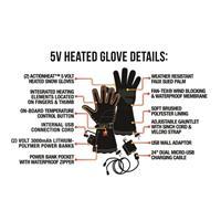Black ActionHeat 5V Heated Snow Gloves Womens