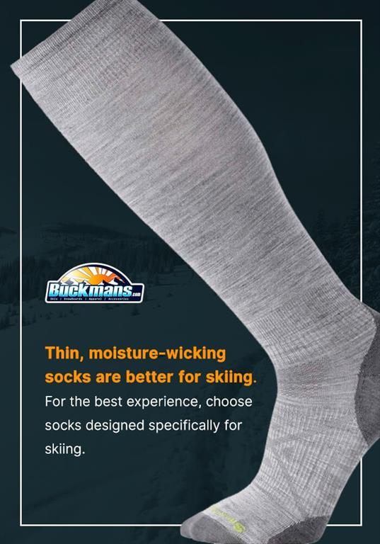 thin moisture wicking socks are better for skiing